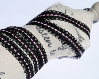 Black and Pink trim, lace--1yrd