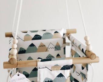 Mountain nursery decor, outdoor swing, baby swing, toddler swing, indoor swing, nursery decor, nursery furniture, fabric swing, baby gift