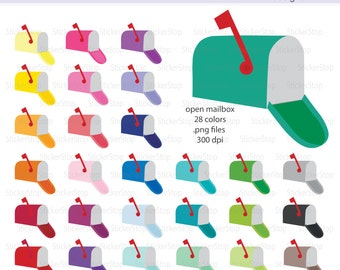 Mailbox Icon Digital Clipart in Rainbow Colors - Instant download PNG files