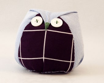 Fabric owl plushie / Stuffed owl / Plush owl / Decorative owl / Toy owl / Owl toy / Owl lover / Purple and light blue