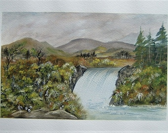 Watercolour landscape painting. Waterfall (ref E194)