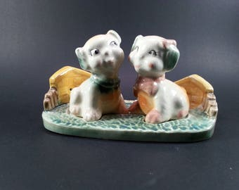Fido and Flossie Salt and Pepper 3 piece Vintage 1950's Anthropormorphic Dog Housewares Birthday Gift, Christmas Gift Collector