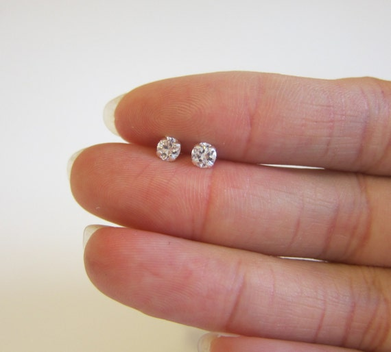 round diamond earring bridal birthstone silver studs sterling media zirconia cubic cz post april stud high quaility