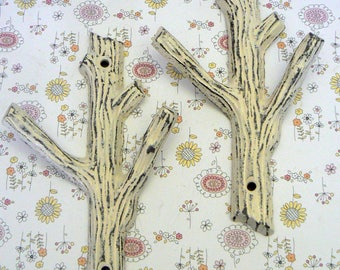 Tree Branch Wall Hook A Pair Set of 2 Shabby Elegance Cream Off White Mudroom Leash Keys Nature Rustic Woodsy Cabin Nursery Home Design
