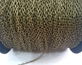 33ft Antique Brass Chain round cable chain 3x4 mm - unsoldered 33 feet - 10 meters  , G2481