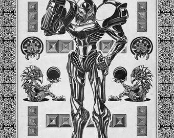 Metroid - Samus Aran Line Art - signed museum quality giclée fine art print
