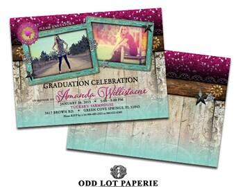 Rustic Graduation Invitation Classic Chic Graduation Invitation Class of 2017 Printable Graduation Announcement Rustic Style faux glitter