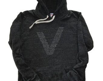 Vegan Shirt / Vegetarian Hoodie - Foodie Hooded Sweatshirt - Vegetable V Kale - Mens / Unisex Tri Blend Dark Gray - Sizes M, L