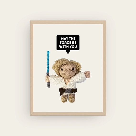 Luke Skywalker: May The Force Be With You. Amigurumis Prints.
