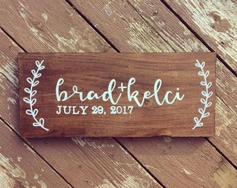 Personalized Wedding Date Sign | Wedding Gift, Anniversary Gift, Wedding Decor, Couple Gift