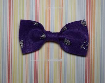 Purple felt bow