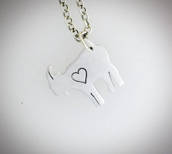 Mini Goat with Heart necklace-Vegan Necklace-Vegan Jewelry-Gift-Birthday-Anniversary-Capricorn-Eco Friendly-Personalized-Valentines Day