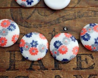 Japanese Acrylic Cabochon 19mm Floral Cabochon (4)  J141