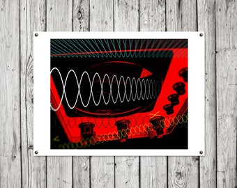 Oscillating Sound Wave on Video Screen Art Print or Canvas 'Unframed'  - technology dials digital  (up to AO size) - P&P WORLDWIDE