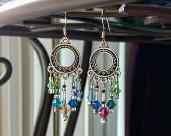 Colorful Swarovski crystal chandelier earrings