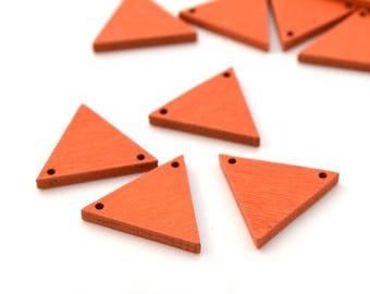 4 orange wood 20 mm x 17 mm triangle connectors