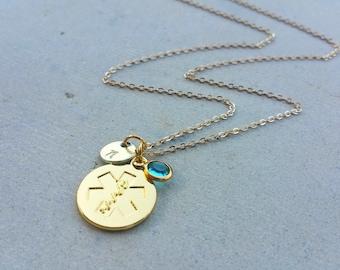 EMT Emergency Medical Technician Caduceus Medicine Birthstone Handstamped Gold Initial Necklace