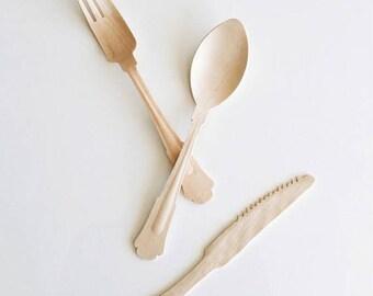 Fancy Wooden Assorted Cutlery Set/ Wooden Cutlery/ Wooden Silverware