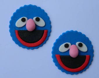 12 edible SESAME STREET GROVER cupcake cake topper decorations baby shower wedding anniversary birthday engagement