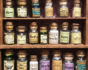 Inspired by Harry Potter- 20 herbs and potions, set #4 of 4, dollhouse size, in glass jars 1:12 1/12 1""
