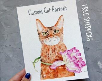 Custom Cat Portrait Pet Painting Original Watercolor Painting  Cat painting Animal art  Cat lover gift Custom portrait Cat memorial