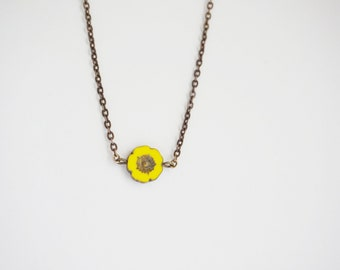 Flower Necklace Yellow Necklace Minimalist Necklace Bridesmaid Jewelry Bridesmaid Gift Pendant Necklace Boho Necklace Hibiscus Necklace Gift