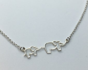 Sterling Silver Mom & Baby Elephant Necklace, Pachyderm Jewelry, African Elephant Art, Custom Chain Length, Makes A Unique Gift!