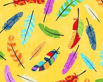 Studio E Flight of Fancy Yellow Feathers fabric - 1 yard