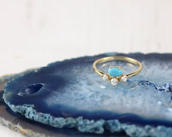 Gold Vermeil, Turquoise & CZ ring |  Multi stone ring |  Cluster ring |  December birthstone | Dainty turquoise ring |  Gold and turquoise