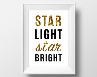 Star Light Star Bright -  Wall Poster - Modern Decor, Quotes Nursery Decor, Typography Art, Gold Wall Art