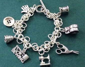 Sewing Charm Bracelet for Her, Sewing Themed Gift for Woman, Mother's Day Gift