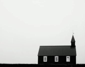 Black Chapel Photograph, Iceland Landscape Photography, Black and White Print, Iceland Print, Scandinavian Art, Budir Church Photo