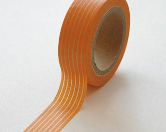 Washi Tape - 15mm - White Vertical Lines on Orange - Deco Paper Tape No. 111