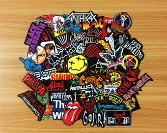 50 pcs. RANDOM Embroidered Iron On Patch Music Rock Punk Band Music Heavy Meta, Wholesale Mixed sizes Random, Music Rock Punk Heavy Metal