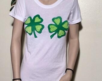 Lucky Shamrock Tshirt | St Patricks | St Patricks Day Shirt | Shamrock Boob | Funny Lucky Shamrock Tee | Clover Shirt Women | Clover