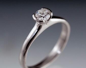 Tulip Diamond Engagement Ring, Half Bezel 4mm Round Quarter Carat Diamond Ring in Palladium, Yellow Gold, White Gold or Platinum