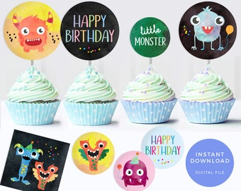 Monster cupcake toppers, Monster labels, Printable cupcake toppers, Monster party labels, Boys birthday party labels, Monster birthday