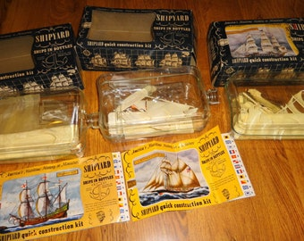 1960s The Shipyard - 3 Ship In Bottle Models. by Gowland