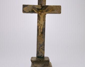 Vintage Handmade Cross Art Assemblage from Ecuador