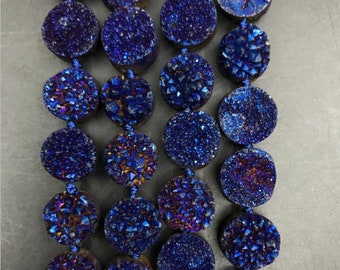Blue Titanium Natural Druzy Quartz 12mm Flat Round Cabochons Beads,Coated Raw Agate Geode Drusy Coin Pendants Earring Necklace strands