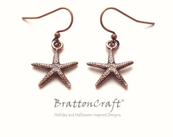 Antiqued Copper Starfish Earrings - Copper Starfish Earrings - Sea Star Earrings - Copper Beach Earrings - Ocean Jewelry - Fromia monilis