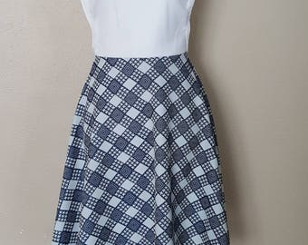 Vintage Handmade Dress/ Blue and White Cross Patterened Checkered