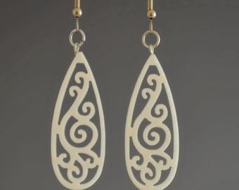 Upcycled White Corian Teardrop Filigree Dangle Earrings - Recycled eco friendly green teardrop dangle pierced jewelry