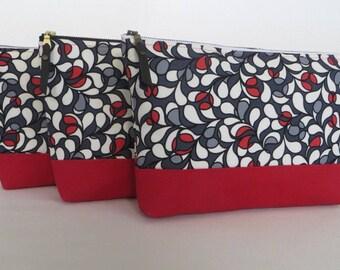 Large Zipper Pouch, Cosmetic Bag, Travel/Sundries Bag, Flat Bottom Zippered Pouch, Makeup Bag