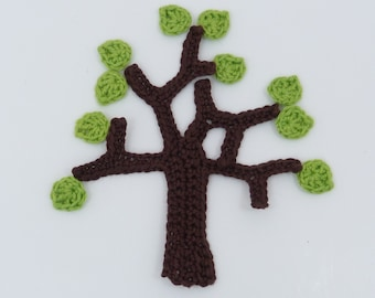 Crochet, Crochet applique, 1 crochet tree & 10 crochet leaves  cardmaking, scrapbooking, craft embellishments, sewing accessories