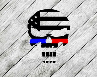 Thin Red Blue Line Skull Flag LEO Fireman Police Firefigher Officer Decal Sticker Cling - Window - Car - Cup - Computer - Laptop - Tumbler