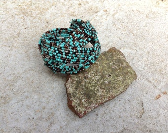 Brown and Turquoise Seed Bead Cuff Bracelet