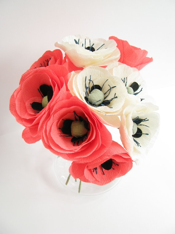 10 pcs paper poppies pink ivory crepe paper flower wedding like this item mightylinksfo Gallery