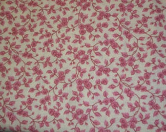 Cotton Fabric Rose and Off White