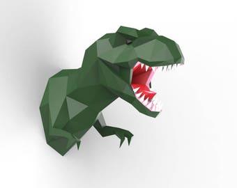 T-rex  Head  Wall Decor   - DIY Pre-cut Papercraft Kit